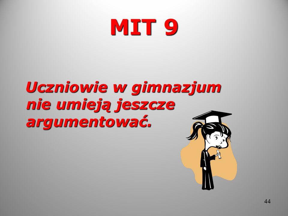 MIT 9 Uczniowie w gimnazjum nie umieją jeszcze argumentować. Uczniowie w gimnazjum nie umieją jeszcze argumentować. 44