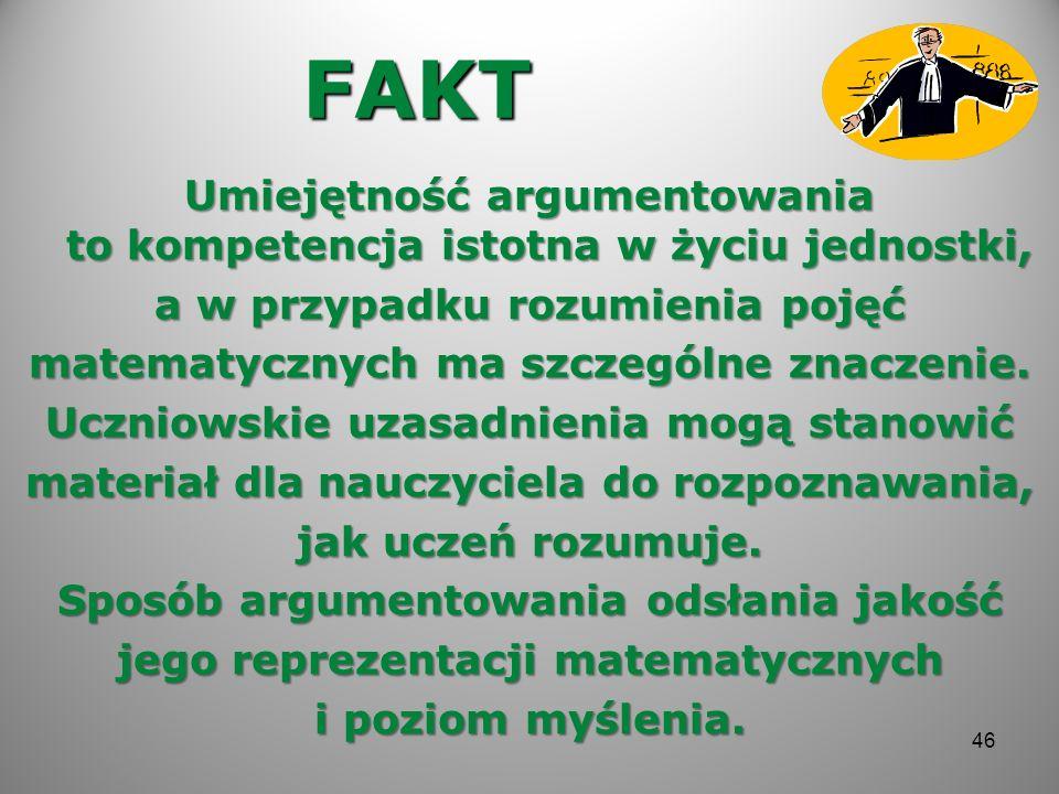 FAKT Umiejętność argumentowania to kompetencja istotna w życiu jednostki, a w przypadku rozumienia pojęć matematycznych ma szczególne znaczenie. Uczni
