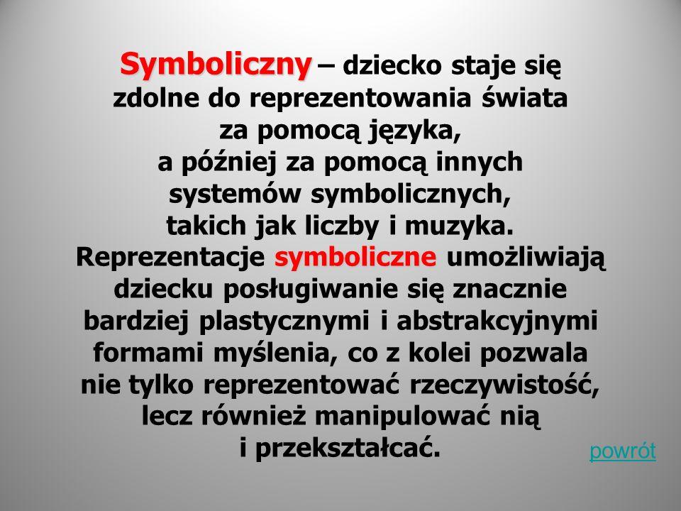 Symboliczny symboliczne Symboliczny – dziecko staje się zdolne do reprezentowania świata za pomocą języka, a później za pomocą innych systemów symboli