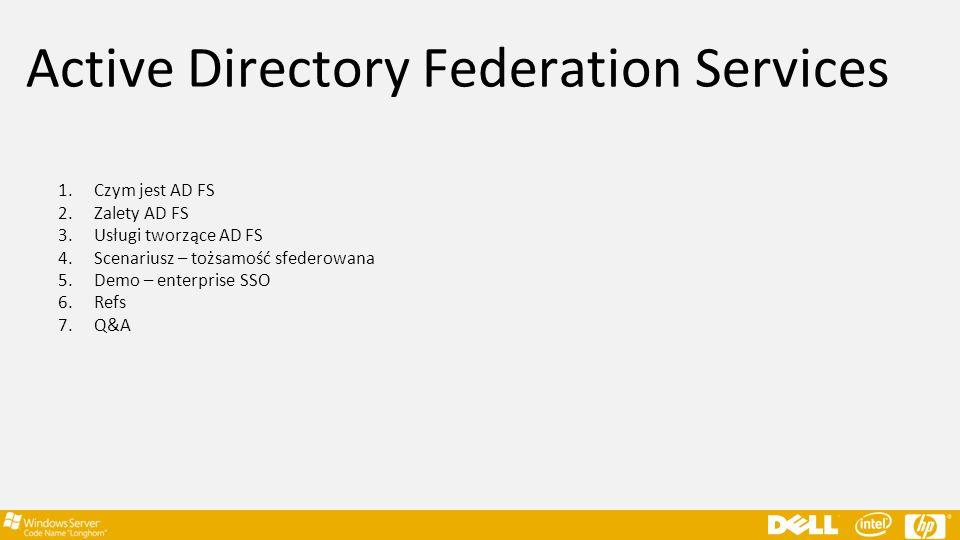Active Directory Federation Services 1.Czym jest AD FS 2.Zalety AD FS 3.Usługi tworzące AD FS 4.Scenariusz – tożsamość sfederowana 5.Demo – enterprise