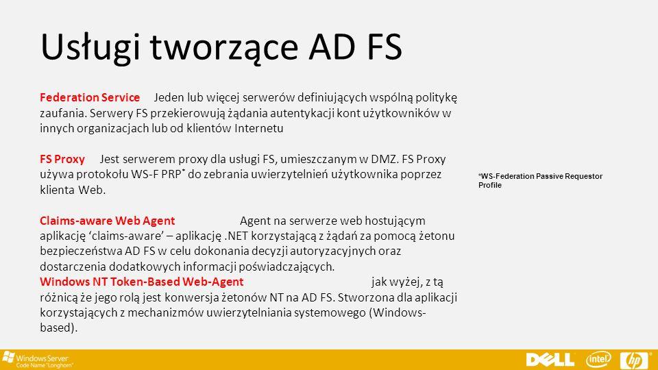 Usługi tworzące AD FS Federation Service Jeden lub więcej serwerów definiujących wspólną politykę zaufania. Serwery FS przekierowują żądania autentyka