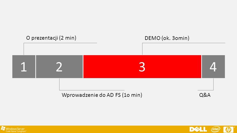 1234 O prezentacji (2 min) Wprowadzenie do AD FS (1o min) DEMO (ok. 3omin) Q&A
