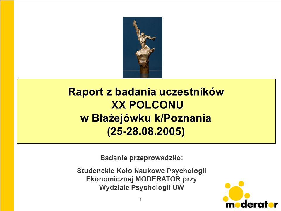 1 Raport z badania uczestników XX POLCONU w Błażejówku k/Poznania (25-28.08.2005) Badanie przeprowadziło: Studenckie Koło Naukowe Psychologii Ekonomic
