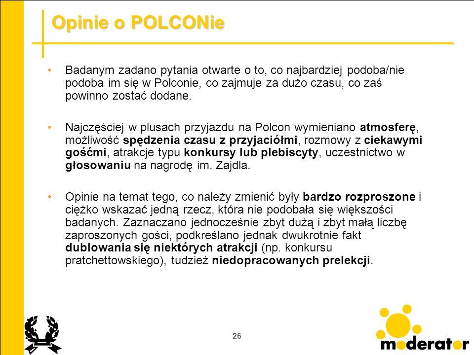 26 Opinie o POLCONie Badanym zadano pytania otwarte o to, co najbardziej podoba/nie podoba im się w Polconie, co zajmuje za dużo czasu, co zaś powinno