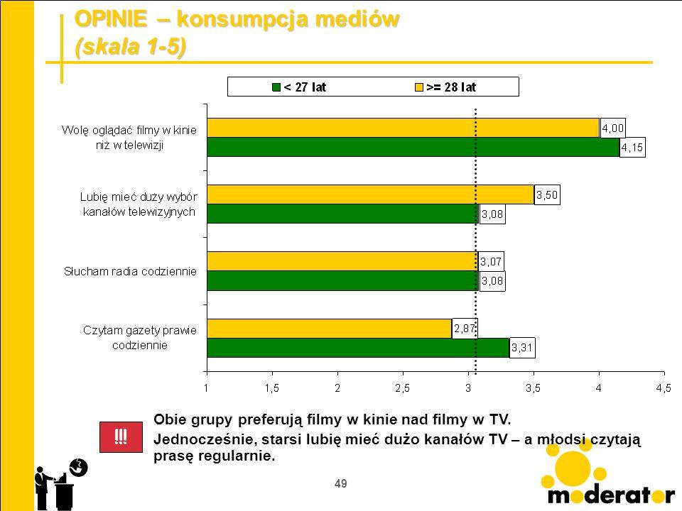 49 OPINIE – konsumpcja mediów (skala 1-5) Obie grupy preferują filmy w kinie nad filmy w TV. Jednocześnie, starsi lubię mieć dużo kanałów TV – a młods