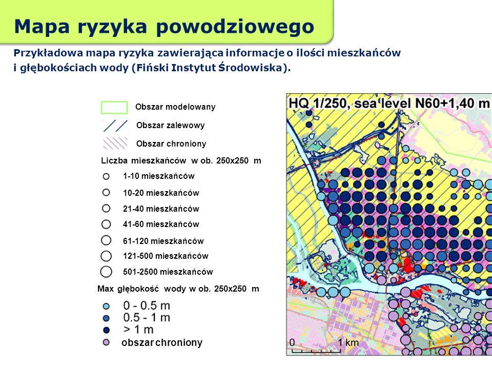 Mapa ryzyka powodziowego Przykładowa mapa ryzyka zawierająca informacje o ilości mieszkańców i głębokościach wody (Fiński Instytut Środowiska). Obszar