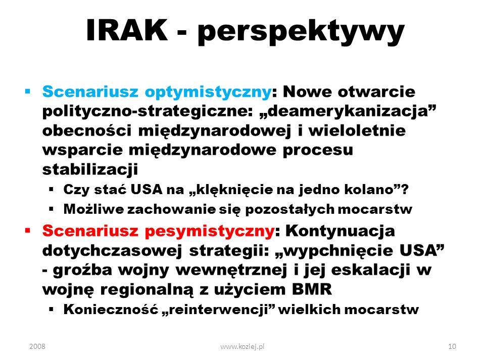 IRAK - perspektywy Scenariusz optymistyczny: Nowe otwarcie polityczno-strategiczne: deamerykanizacja obecności międzynarodowej i wieloletnie wsparcie