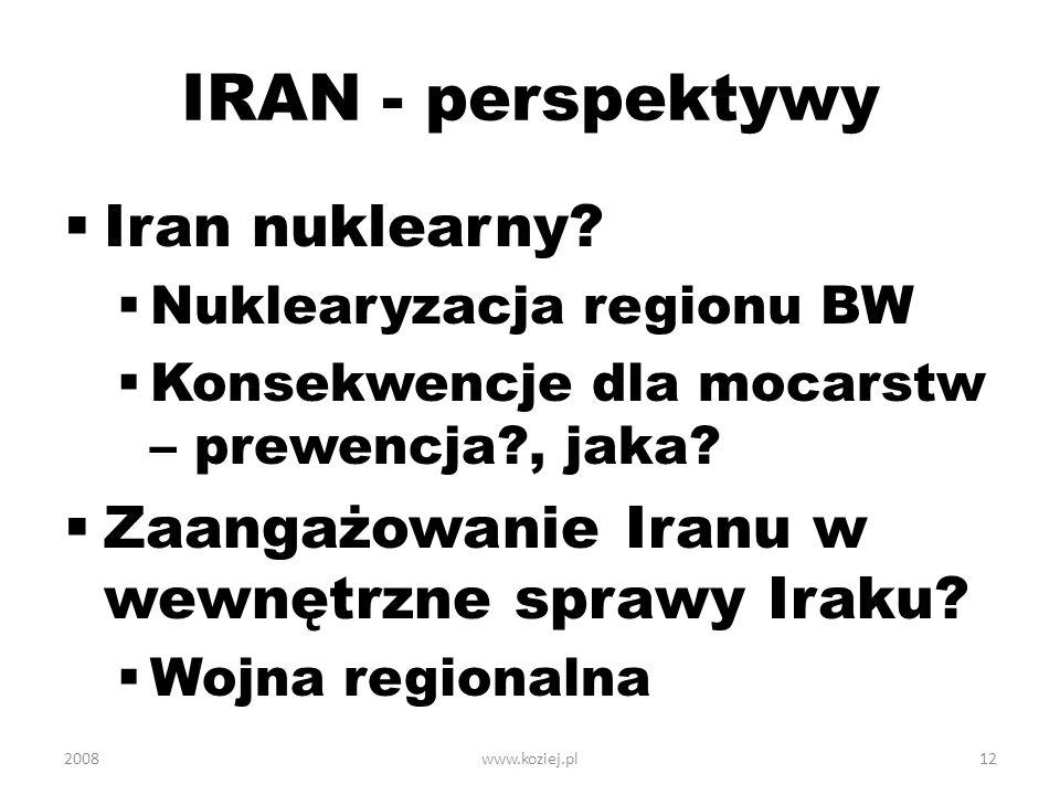 IRAN - perspektywy Iran nuklearny? Nuklearyzacja regionu BW Konsekwencje dla mocarstw – prewencja?, jaka? Zaangażowanie Iranu w wewnętrzne sprawy Irak