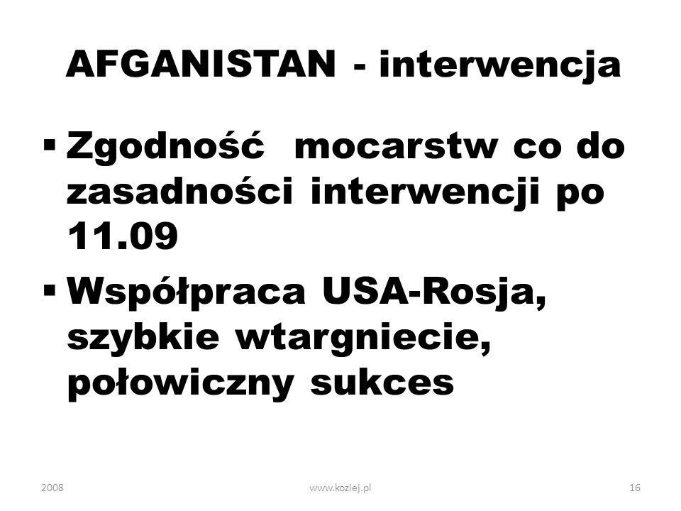 AFGANISTAN - interwencja Zgodność mocarstw co do zasadności interwencji po 11.09 Współpraca USA-Rosja, szybkie wtargniecie, połowiczny sukces 200816ww