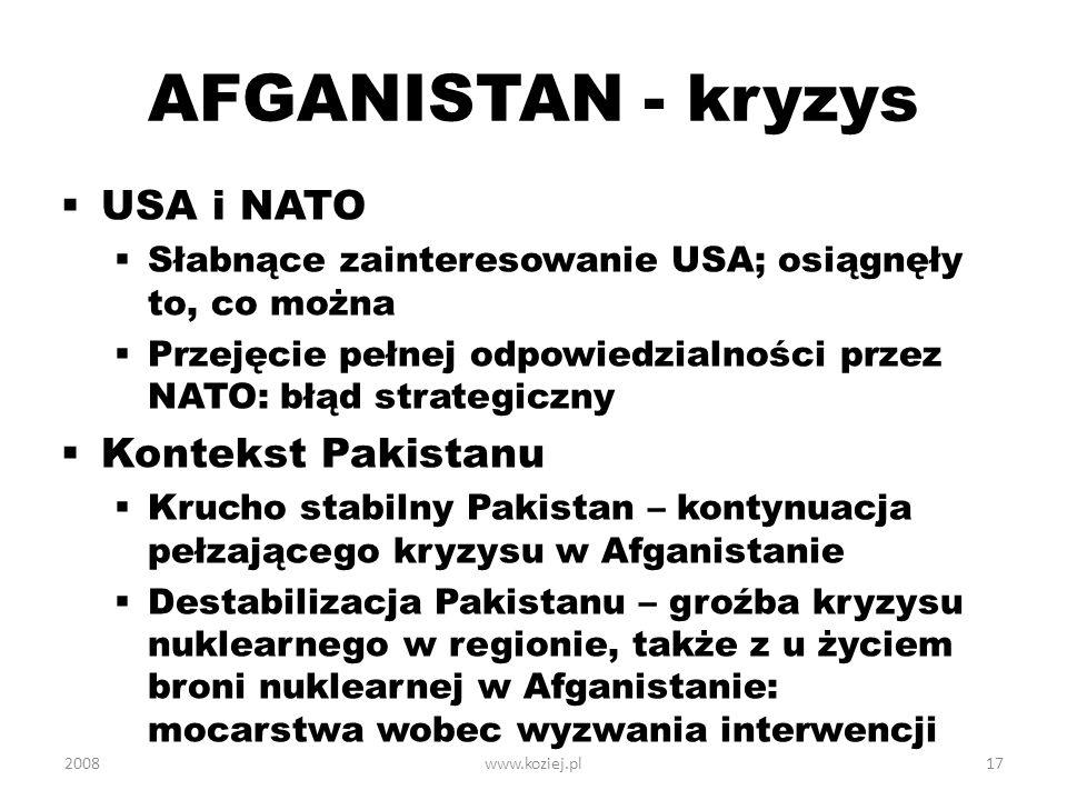 AFGANISTAN - kryzys USA i NATO Słabnące zainteresowanie USA; osiągnęły to, co można Przejęcie pełnej odpowiedzialności przez NATO: błąd strategiczny K