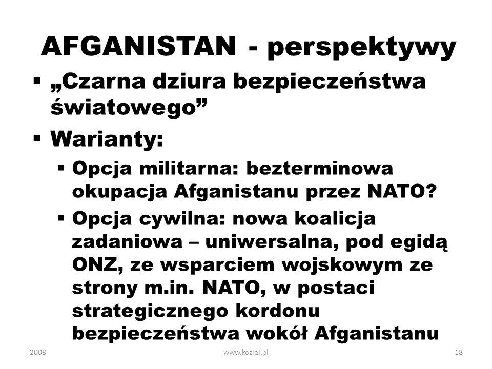 AFGANISTAN - perspektywy Czarna dziura bezpieczeństwa światowego Warianty: Opcja militarna: bezterminowa okupacja Afganistanu przez NATO? Opcja cywiln