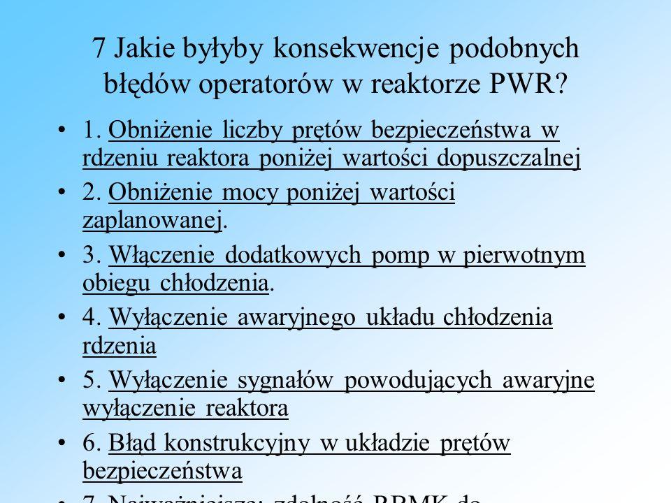 7 Jakie byłyby konsekwencje podobnych błędów operatorów w reaktorze PWR? 1. Obniżenie liczby prętów bezpieczeństwa w rdzeniu reaktora poniżej wartości