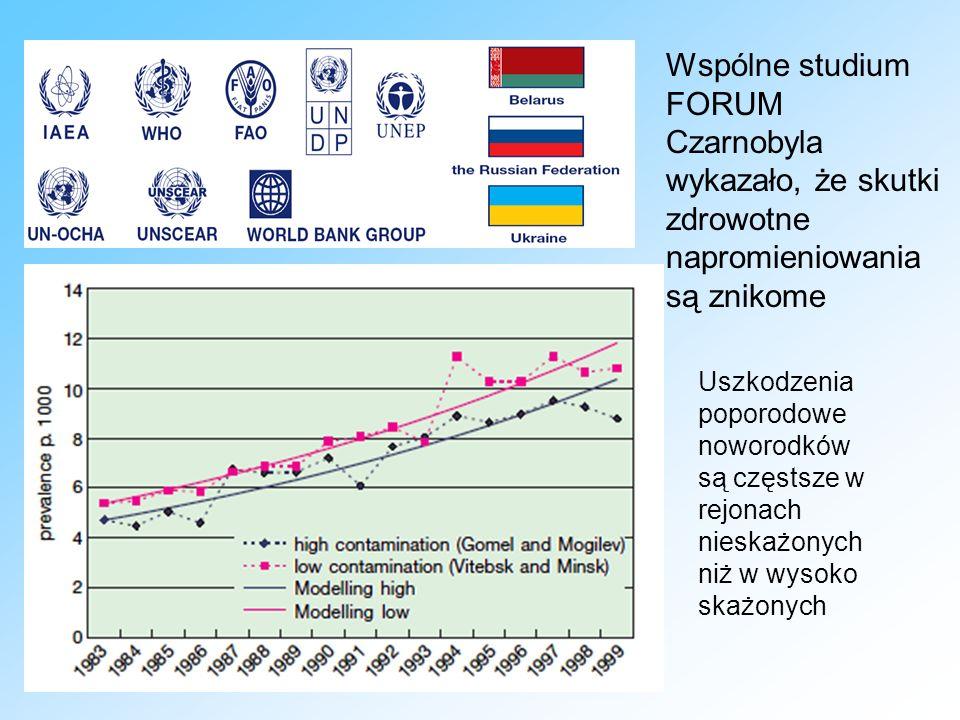 Uszkodzenia poporodowe noworodków są częstsze w rejonach nieskażonych niż w wysoko skażonych Wspólne studium FORUM Czarnobyla wykazało, że skutki zdrowotne napromieniowania są znikome