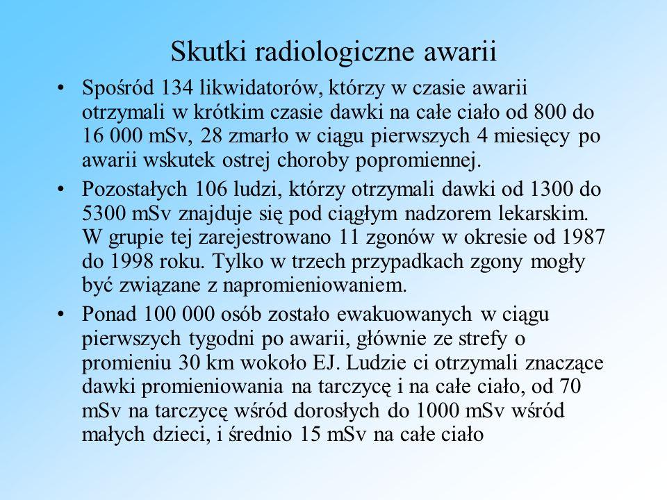 Skutki radiologiczne awarii Spośród 134 likwidatorów, którzy w czasie awarii otrzymali w krótkim czasie dawki na całe ciało od 800 do 16 000 mSv, 28 zmarło w ciągu pierwszych 4 miesięcy po awarii wskutek ostrej choroby popromiennej.