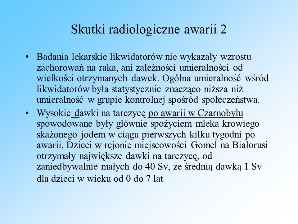 Skutki radiologiczne awarii 2 Badania lekarskie likwidatorów nie wykazały wzrostu zachorowań na raka, ani zależności umieralności od wielkości otrzymanych dawek.