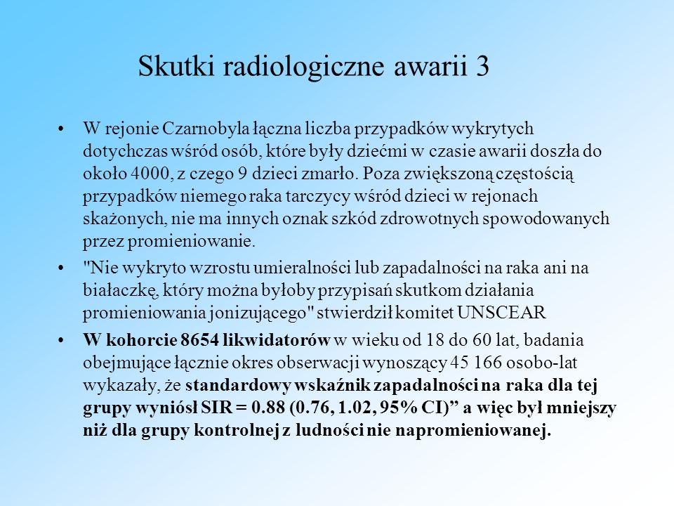 Skutki radiologiczne awarii 3 W rejonie Czarnobyla łączna liczba przypadków wykrytych dotychczas wśród osób, które były dziećmi w czasie awarii doszła