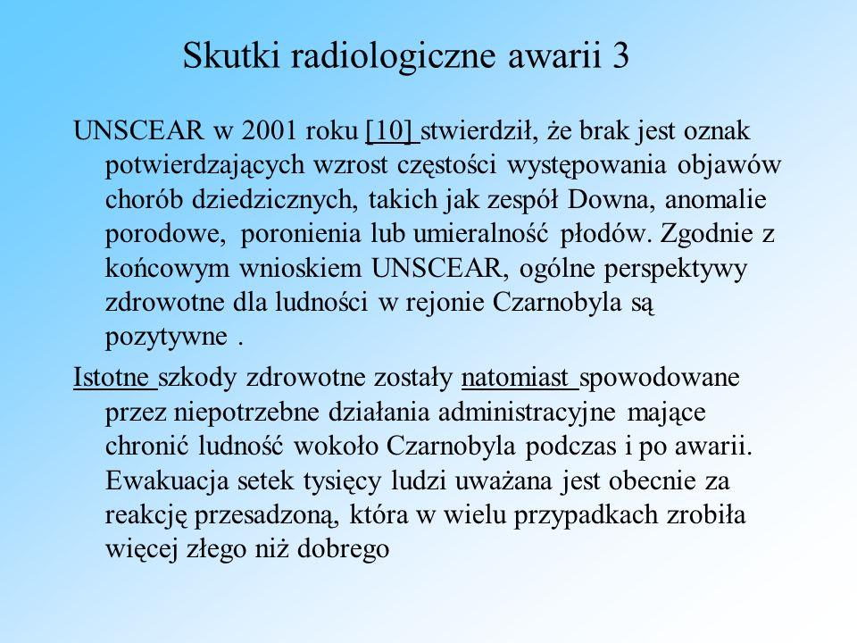 Skutki radiologiczne awarii 3 UNSCEAR w 2001 roku [10] stwierdził, że brak jest oznak potwierdzających wzrost częstości występowania objawów chorób dz