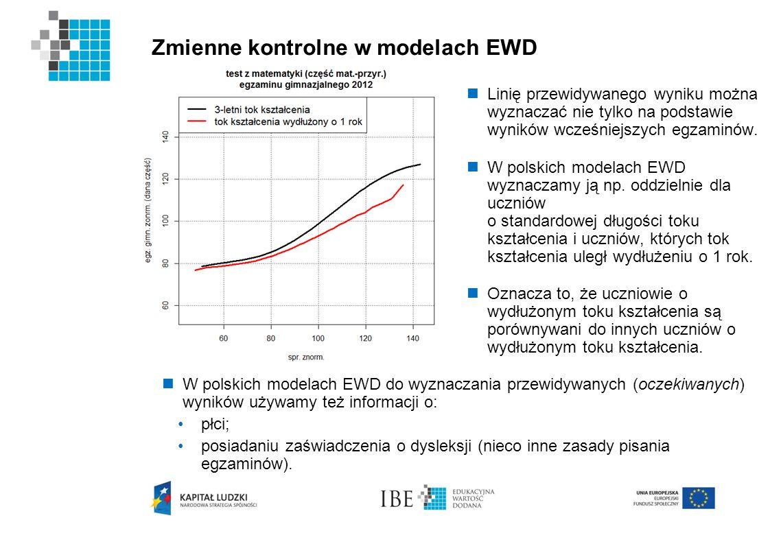 Zmienne kontrolne w modelach EWD Linię przewidywanego wyniku można wyznaczać nie tylko na podstawie wyników wcześniejszych egzaminów. W polskich model