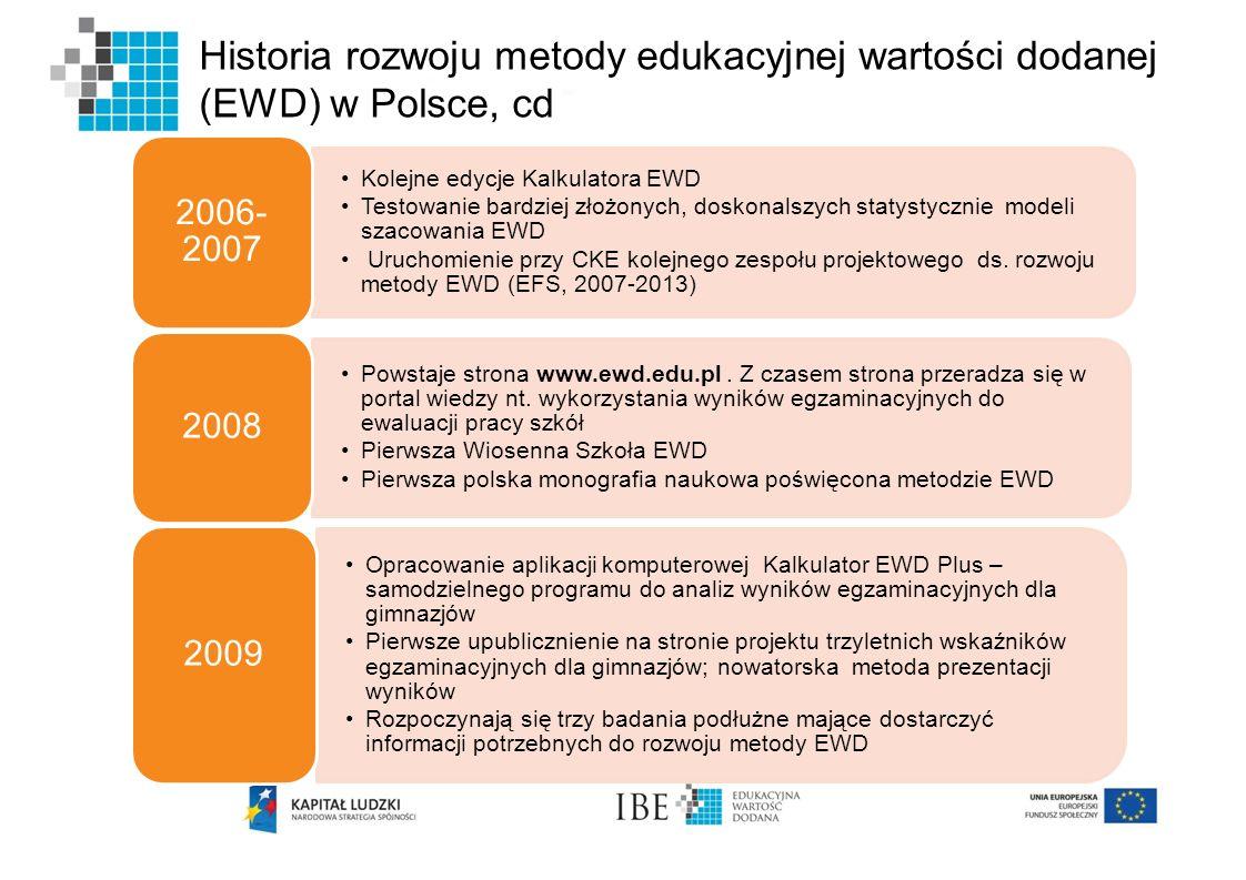 Historia rozwoju metody edukacyjnej wartości dodanej (EWD) w Polsce, cd Kolejne edycje Kalkulatora EWD Testowanie bardziej złożonych, doskonalszych st