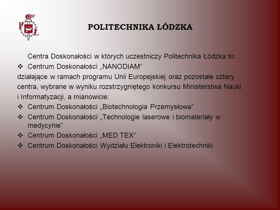 Centra Doskonałości w których uczestniczy Politechnika Łódzka to: Centrum Doskonałości NANODIAM działające w ramach programu Unii Europejskiej oraz po