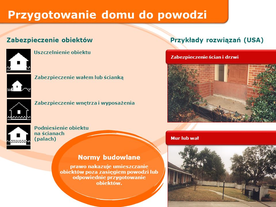 Zabezpieczenie wałem lub ścianką Uszczelnienie obiektu Podniesienie obiektu na ścianach (palach) Zabezpieczenie wnętrza i wyposażenia Zabezpieczenie o