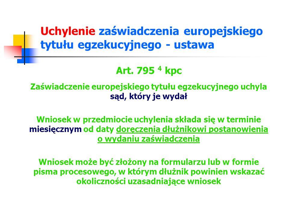 Uchylenie zaświadczenia europejskiego tytułu egzekucyjnego ustawa – procedura Art.