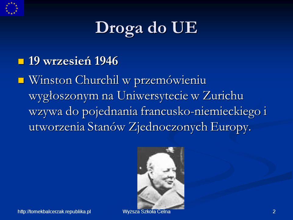 http://tomekbalcerzak.republika.pl 13Wyższa Szkoła Celna Powstawanie Wspólnot Europejskich 25 III 1957- Traktat Rzymski- utworzenie Trybunału Sprawiedliwości oraz organu międzyparlamentarnego- Zgromadzenie (w 1962 r.