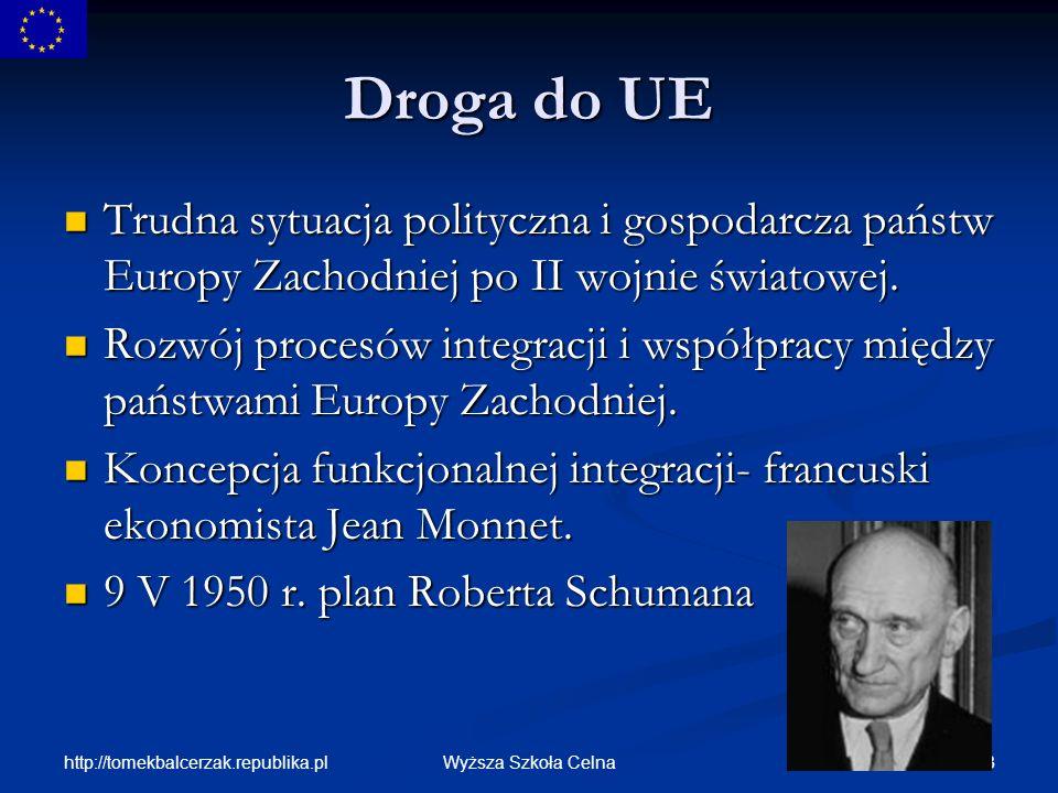 http://tomekbalcerzak.republika.pl 54Wyższa Szkoła Celna UE- statystyka Unia Europejska zrzesza 15 krajów liczących łącznie 376 mln.