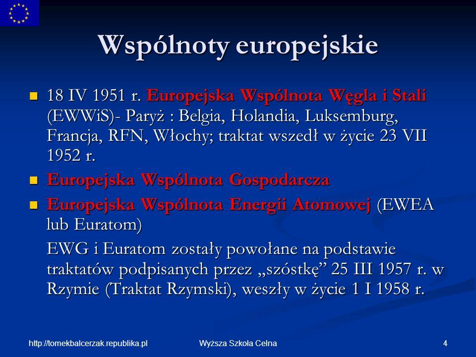 http://tomekbalcerzak.republika.pl 15Wyższa Szkoła Celna Powstawanie Wspólnot Europejskich 1977 r.