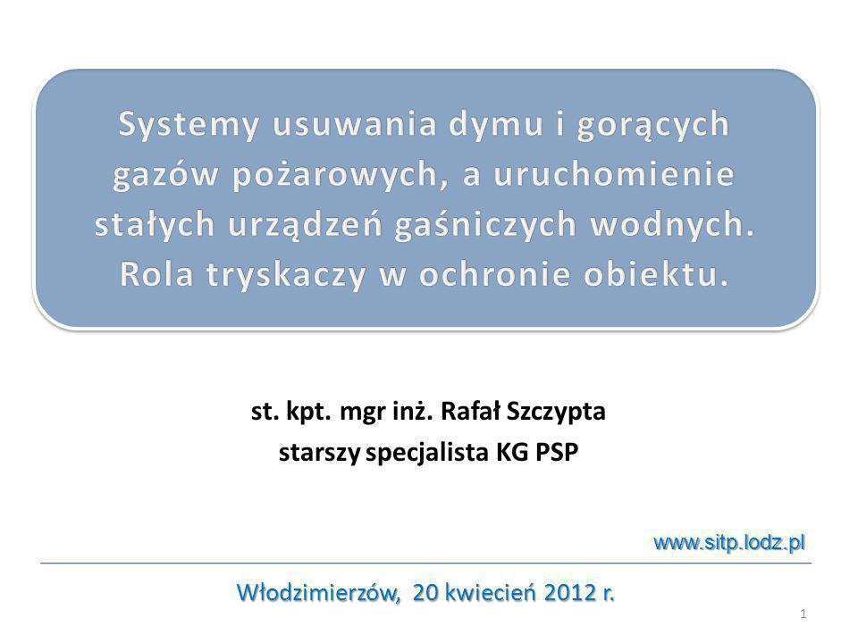 st. kpt. mgr inż. Rafał Szczypta starszy specjalista KG PSP 1 Włodzimierzów, 20 kwiecień 2012 r. www.sitp.lodz.pl