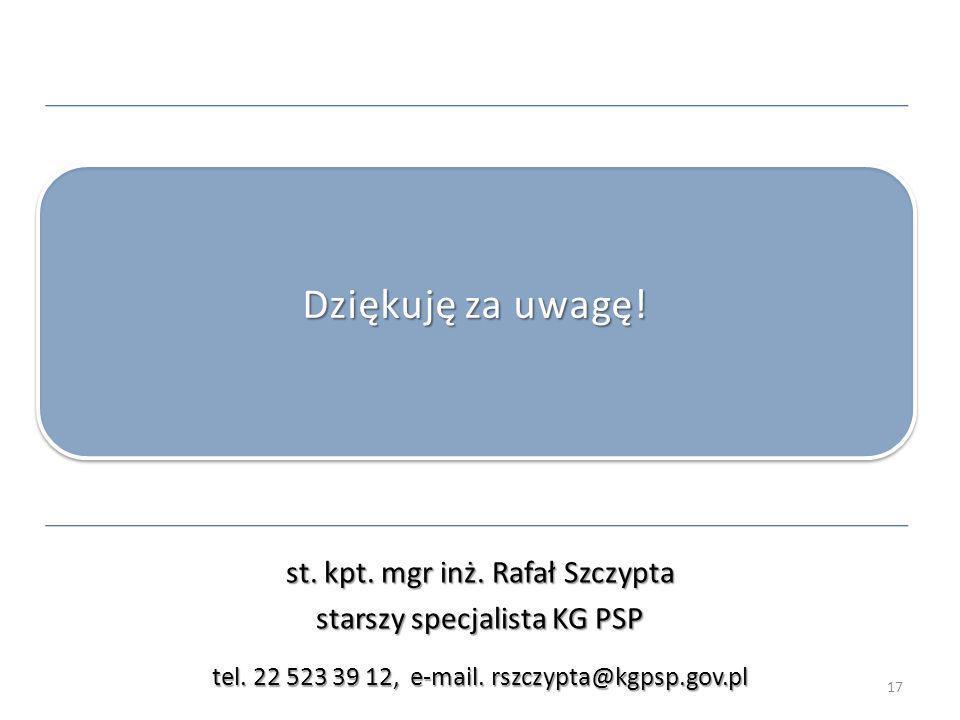 st. kpt. mgr inż. Rafał Szczypta starszy specjalista KG PSP tel. 22 523 39 12, e-mail. rszczypta@kgpsp.gov.pl Dziękuję za uwagę! 17