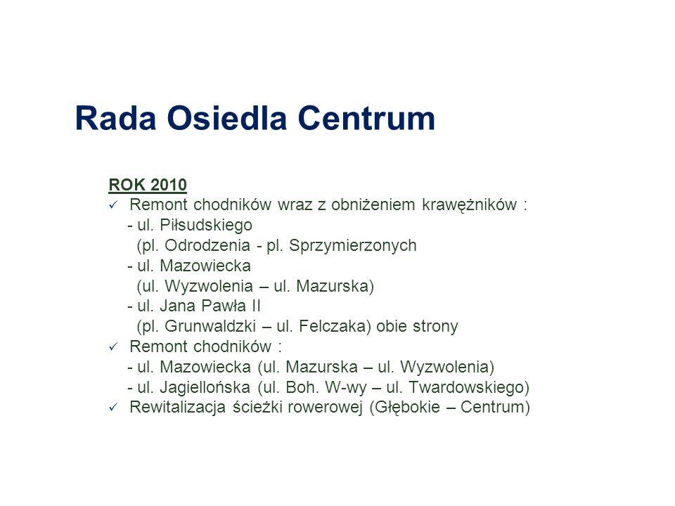 Rada Osiedla Śródmieście Zachód ROK 2010 Remont nawierzchni jezdni : - Pl.