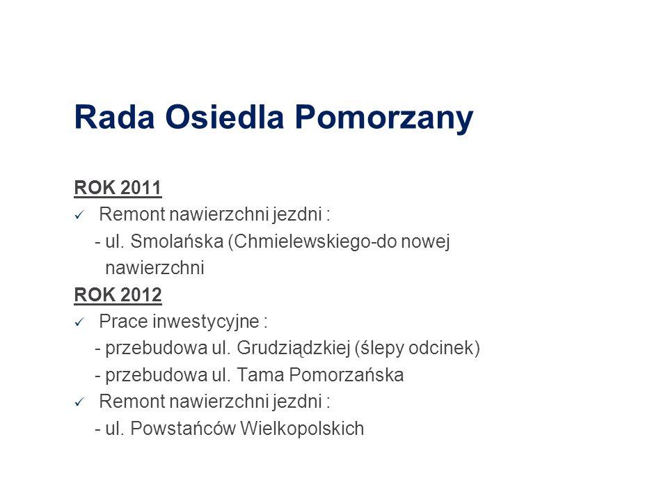 Rada Osiedla Pomorzany ROK 2011 Remont nawierzchni jezdni : - ul. Smolańska (Chmielewskiego-do nowej nawierzchni ROK 2012 Prace inwestycyjne : - przeb