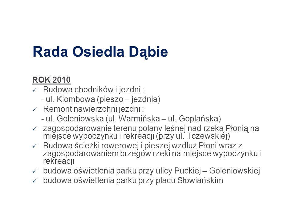 Rada Osiedla Dąbie ROK 2010 Budowa chodników i jezdni : - ul. Klombowa (pieszo – jezdnia) Remont nawierzchni jezdni : - ul. Goleniowska (ul. Warmińska