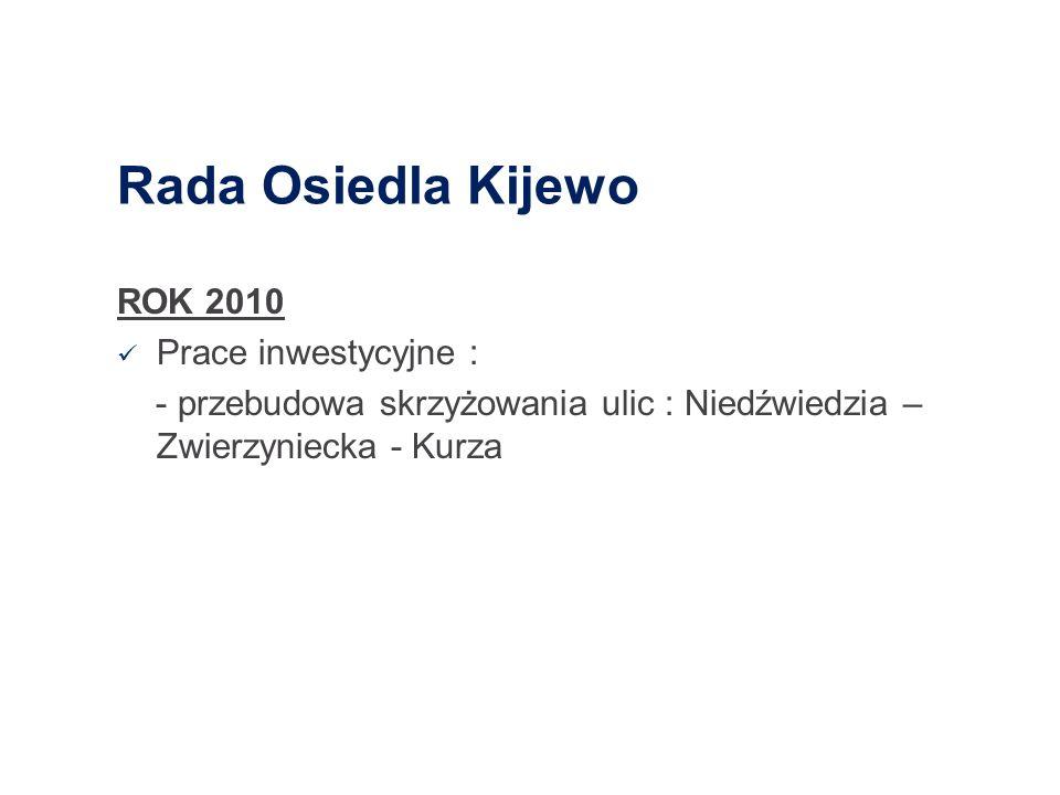 Rada Osiedla Kijewo ROK 2010 Prace inwestycyjne : - przebudowa skrzyżowania ulic : Niedźwiedzia – Zwierzyniecka - Kurza