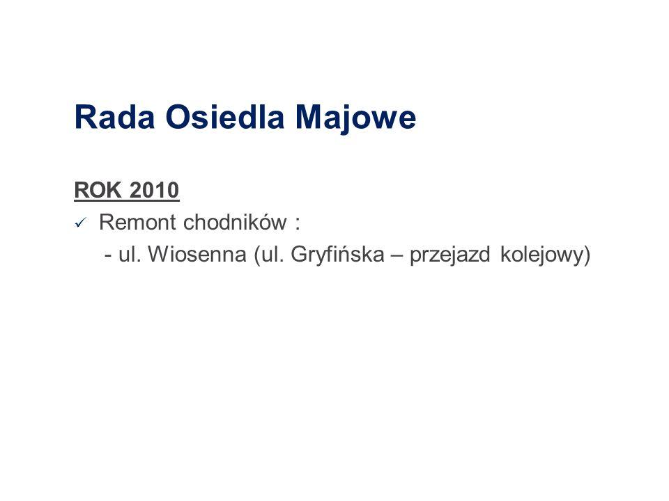 Rada Osiedla Majowe ROK 2010 Remont chodników : - ul. Wiosenna (ul. Gryfińska – przejazd kolejowy)