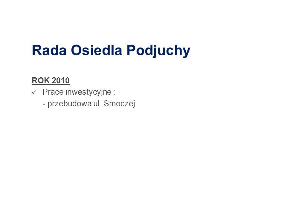 Rada Osiedla Podjuchy ROK 2010 Prace inwestycyjne : - przebudowa ul. Smoczej