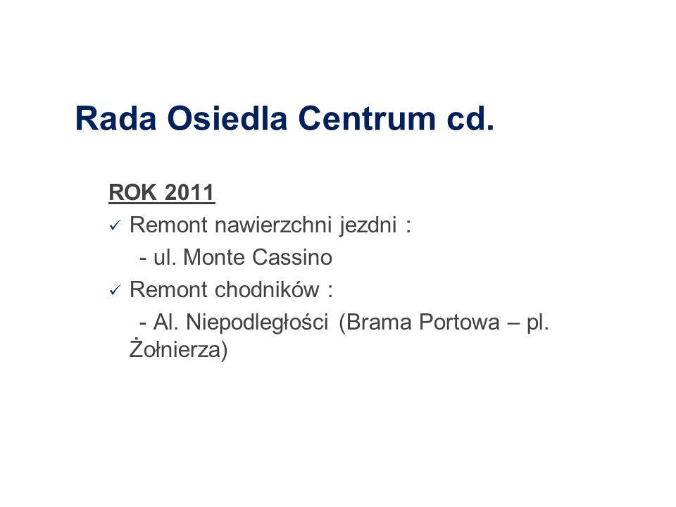 Rada Osiedla Centrum cd. ROK 2011 Remont nawierzchni jezdni : - ul. Monte Cassino Remont chodników : - Al. Niepodległości (Brama Portowa – pl. Żołnier