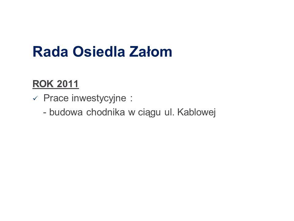 Rada Osiedla Załom ROK 2011 Prace inwestycyjne : - budowa chodnika w ciągu ul. Kablowej