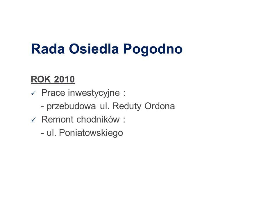 Rada Osiedla Pogodno ROK 2010 Prace inwestycyjne : - przebudowa ul. Reduty Ordona Remont chodników : - ul. Poniatowskiego