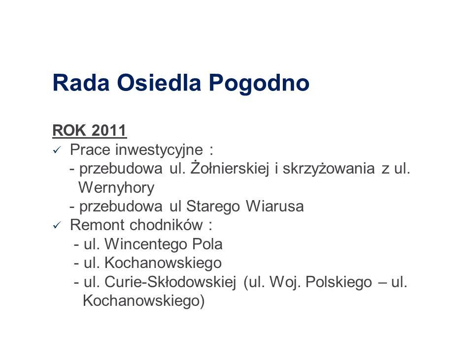 Rada Osiedla Pogodno ROK 2011 Prace inwestycyjne : - przebudowa ul. Żołnierskiej i skrzyżowania z ul. Wernyhory - przebudowa ul Starego Wiarusa Remont