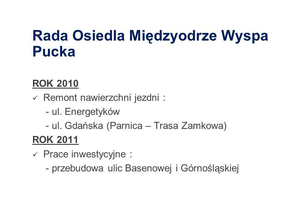 Rada Osiedla Międzyodrze Wyspa Pucka ROK 2010 Remont nawierzchni jezdni : - ul. Energetyków - ul. Gdańska (Parnica – Trasa Zamkowa) ROK 2011 Prace inw
