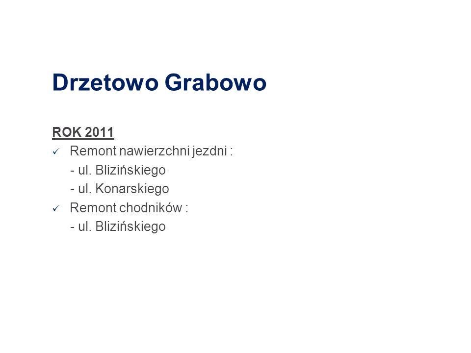 Drzetowo Grabowo ROK 2011 Remont nawierzchni jezdni : - ul. Blizińskiego - ul. Konarskiego Remont chodników : - ul. Blizińskiego