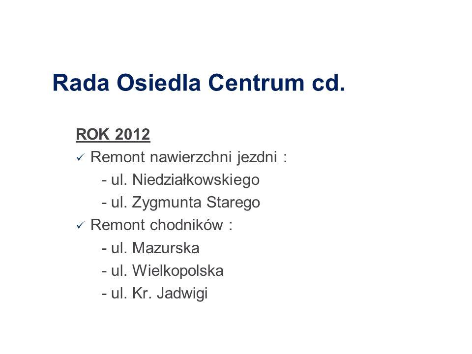 Rada Osiedla Centrum cd. ROK 2012 Remont nawierzchni jezdni : - ul. Niedziałkowskiego - ul. Zygmunta Starego Remont chodników : - ul. Mazurska - ul. W