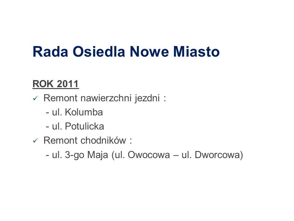 Rada Osiedla Gumieńce ROK 2011 Prace inwestycyjne: - przebudowa ul. Kwiatowej