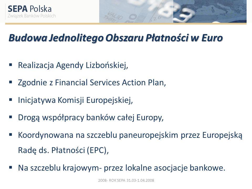 Budowa Jednolitego Obszaru Płatności w Euro Realizacja Agendy Lizbońskiej, Zgodnie z Financial Services Action Plan, Inicjatywa Komisji Europejskiej,