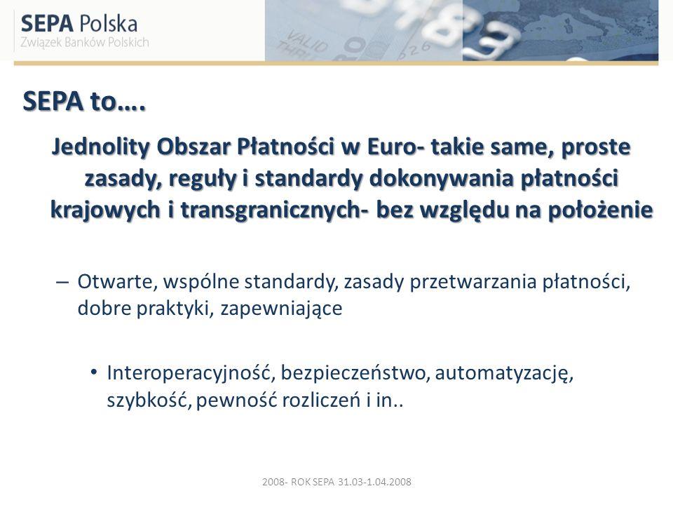 SEPA to…. Jednolity Obszar Płatności w Euro- takie same, proste zasady, reguły i standardy dokonywania płatności krajowych i transgranicznych- bez wzg