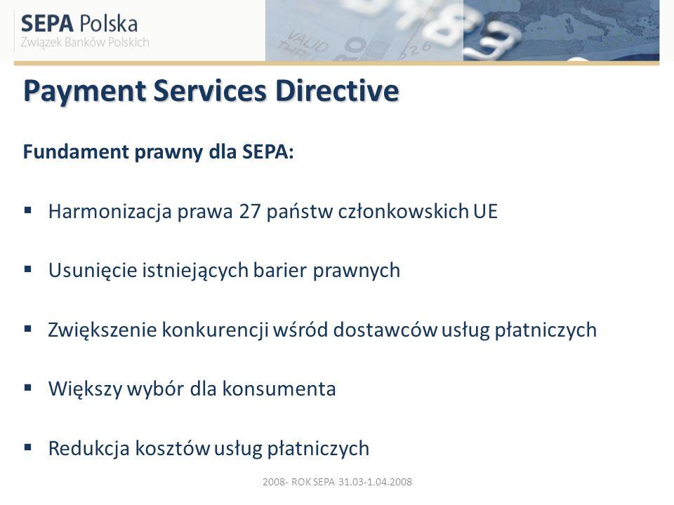 Payment Services Directive Fundament prawny dla SEPA: Harmonizacja prawa 27 państw członkowskich UE Usunięcie istniejących barier prawnych Zwiększenie
