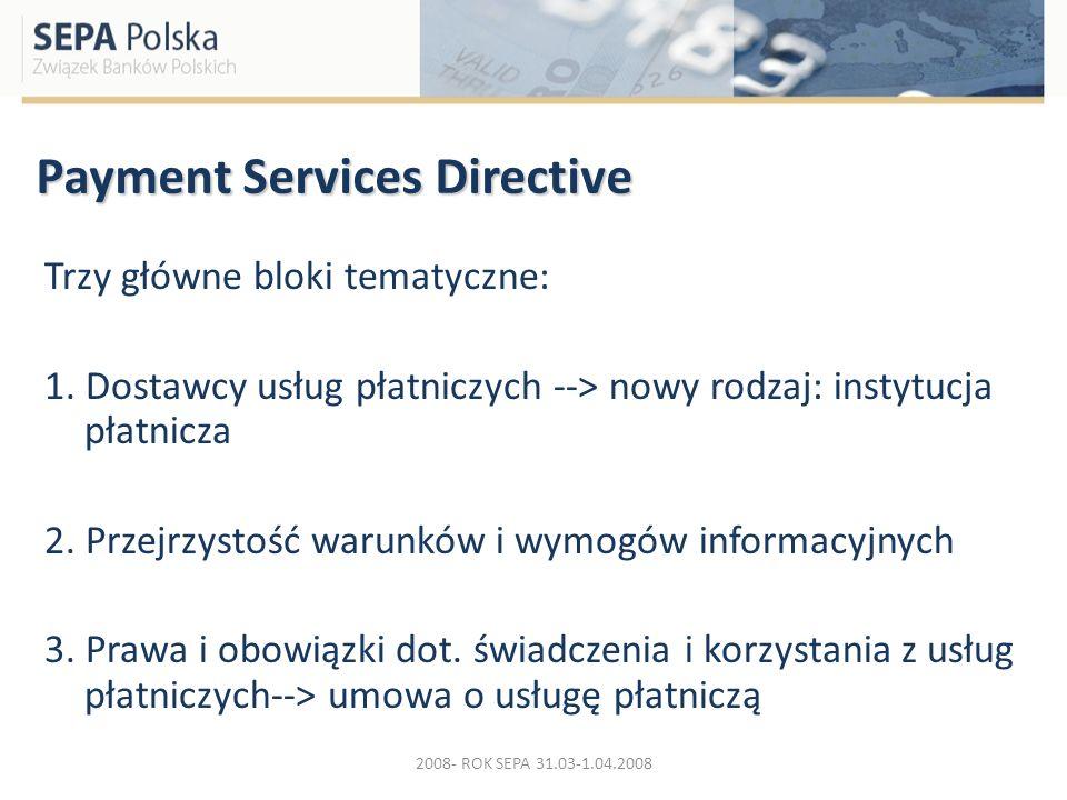Payment Services Directive Trzy główne bloki tematyczne: 1. Dostawcy usług płatniczych --> nowy rodzaj: instytucja płatnicza 2. Przejrzystość warunków
