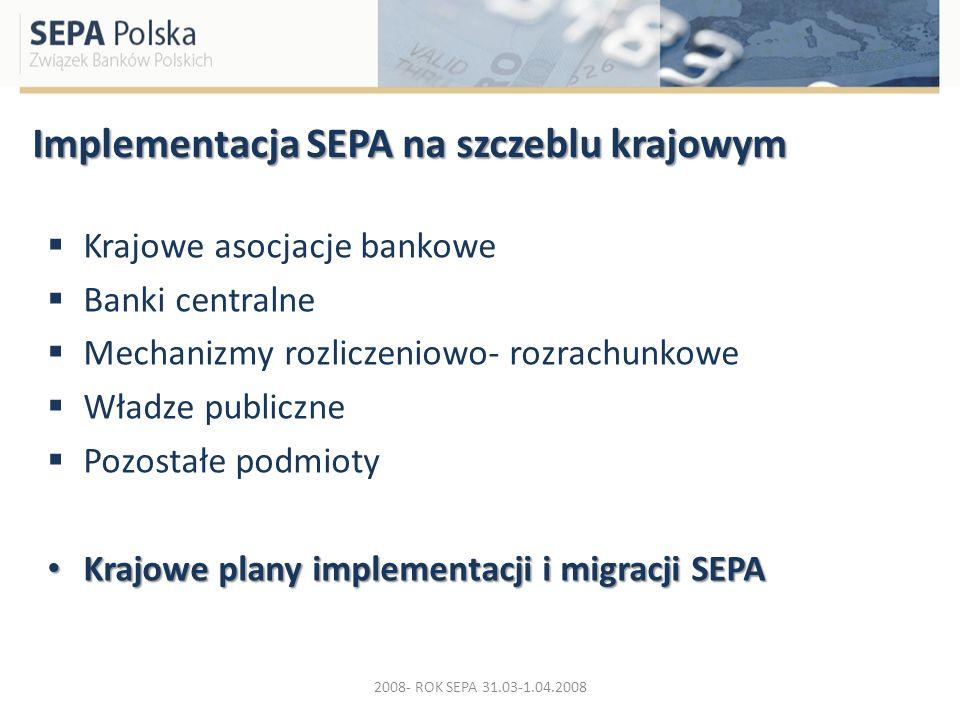 Implementacja SEPA na szczeblu krajowym Krajowe asocjacje bankowe Banki centralne Mechanizmy rozliczeniowo- rozrachunkowe Władze publiczne Pozostałe p